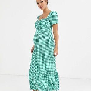 ASOS maternity green gingham maxi dress US 2 UK 6